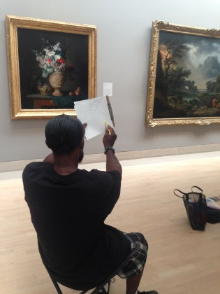 Sam sketching in the galleries.