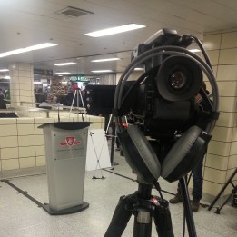 DAILY | Prepared to shoot some footage and announcements at Yonge-Bloor Station regarding the new TTC Customer Charter.