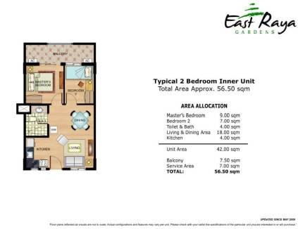 East Raya Gardens Unit Layout 2 Bedrooms