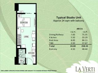 La verti Residences - studio unit