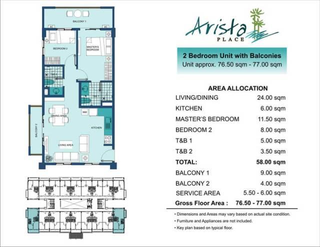 Arista Place 2 Bedroom End unit layout