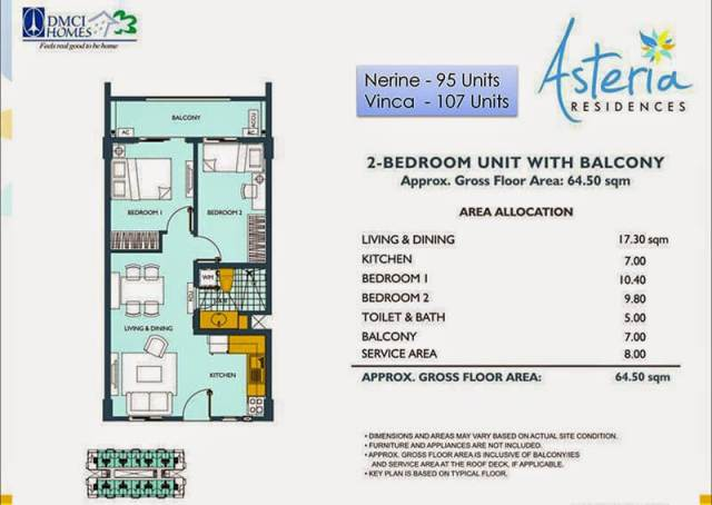 Asteria Residences 2-Bedroom 64.50sqm.