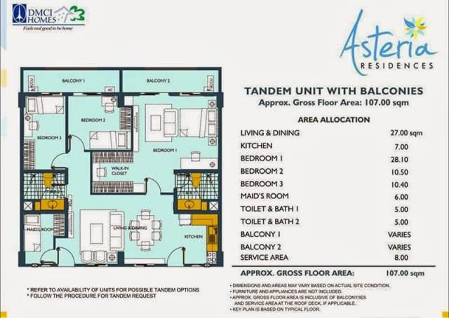Asteria Residences 3-Bedroom Tandem Unit 107.00sqm
