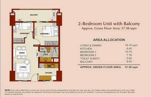 Brio Tower 2-Bedroom Unit B 57.50 sqm.