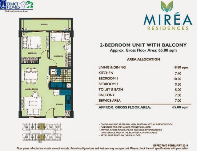 Mirea Residences 2-Bedroom Inner-I Unit 65.00 sqm.