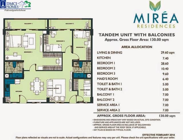 Mirea Residences 3-Bedroom wMaid's Room Tandem Unit 130.00 sqm.