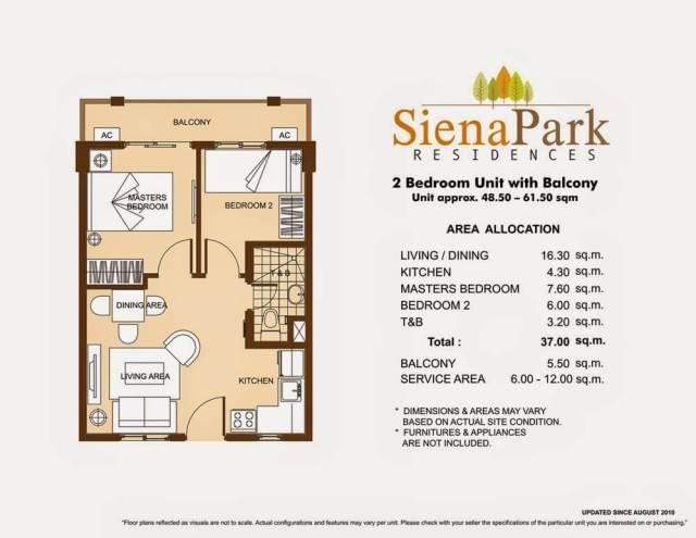 Siena Park Residences 2-Bedroom Unit 37.00 sq meters