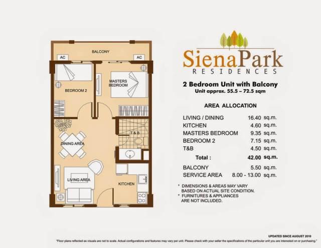 Siena Park Residences 2-Bedroom Unit 42.00 sq meters