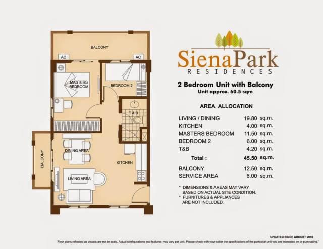 Siena Park Residences 2-Bedroom Unit 45.50 square meters