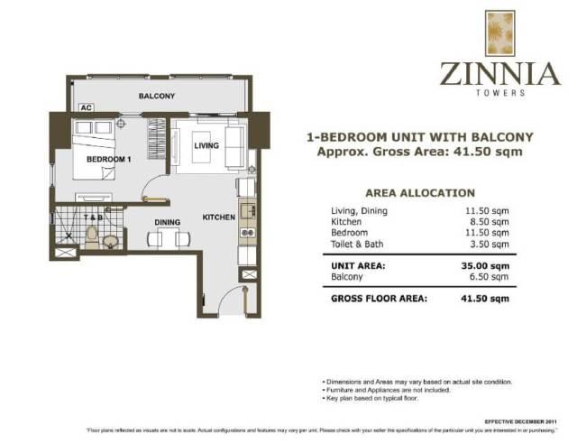zinnia towers 1bedroom with balcony 41.50sqm