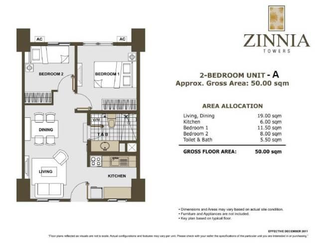 zinnia towers 2bedroom A