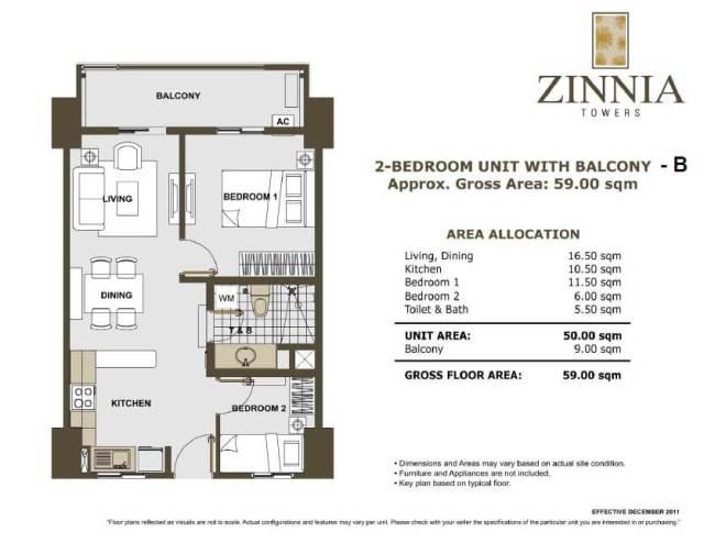 zinnia towers 2bedroom with balcony 59sqm