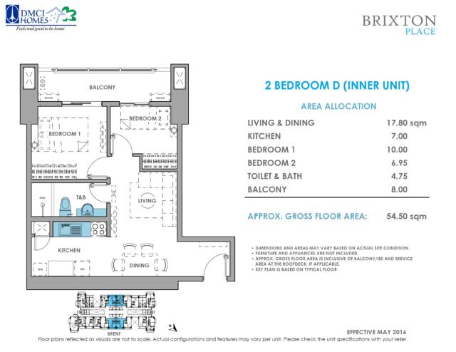 Brixton Place 2 Bedroom D 54.5 sq meters