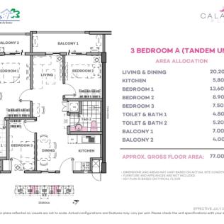 3 Bedroom A Tandem 77 sq meters