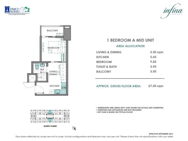 1 Bedroom A 27.5 sq meters