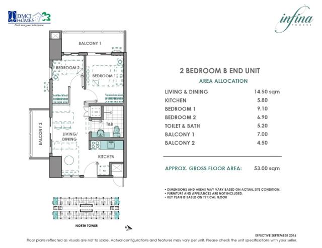 2 Bedroom B End unit 53 square meters infina Towers