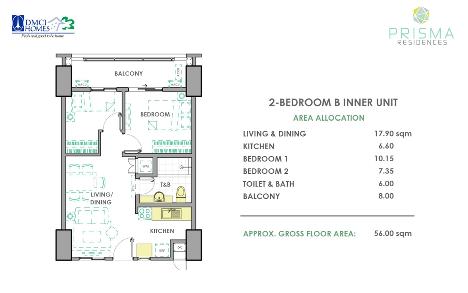 2 Bedroom B Unit Layout in Prisma DMCI Homes