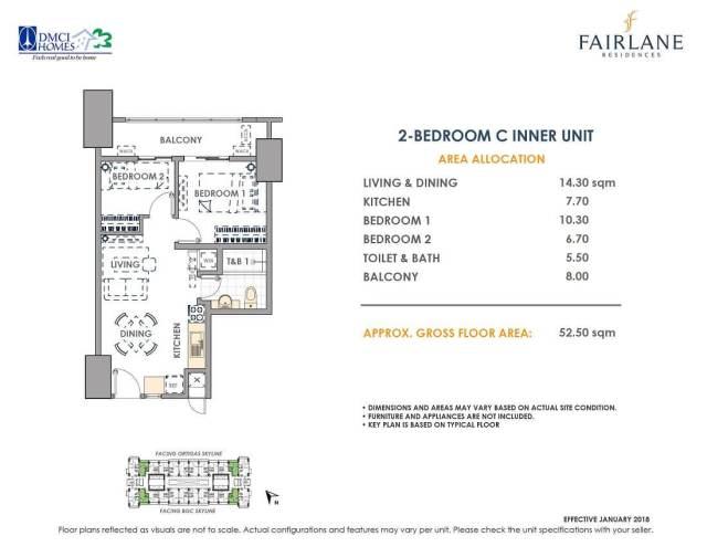 2 Bedroom C 52.5 sq meters Fairlane Unit Layout