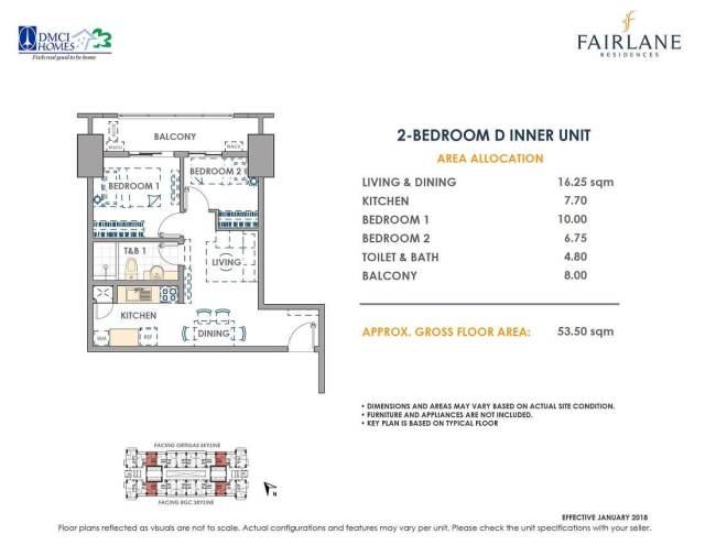 2 Bedroom D 53.5 sq meters Fairlane Unit Layout