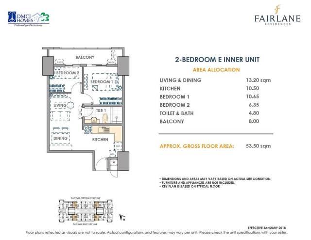 2 Bedroom E 53.5 sq meters Fairlane Unit Layout