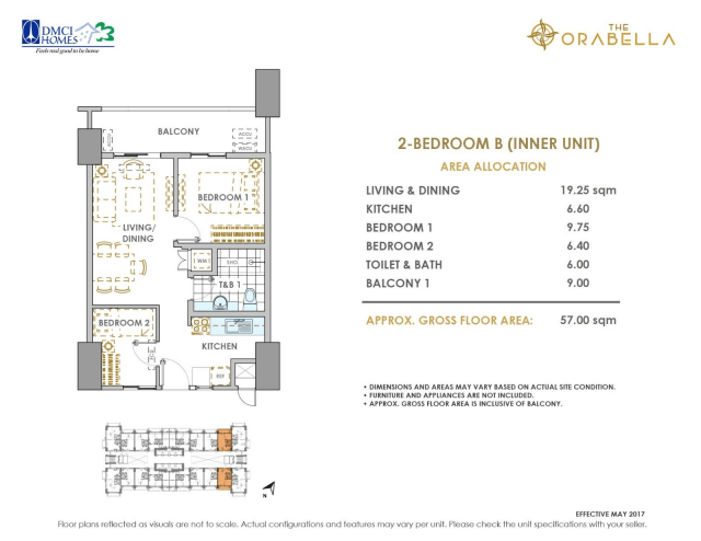 Orabella 2 Bedroom Unit Layout