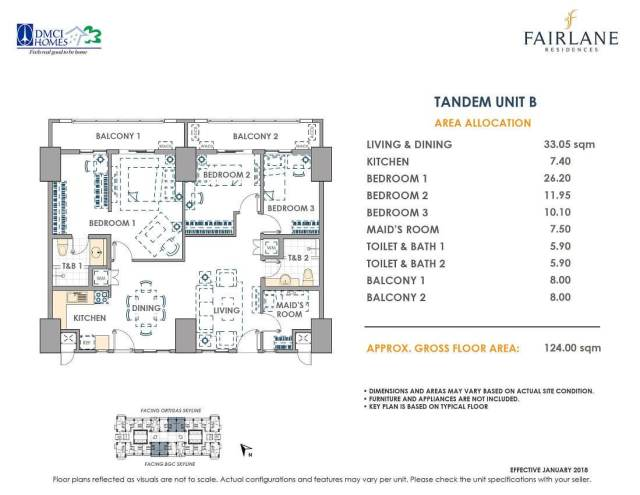 Tandem 124 sq meters Fairlane Unit Layout
