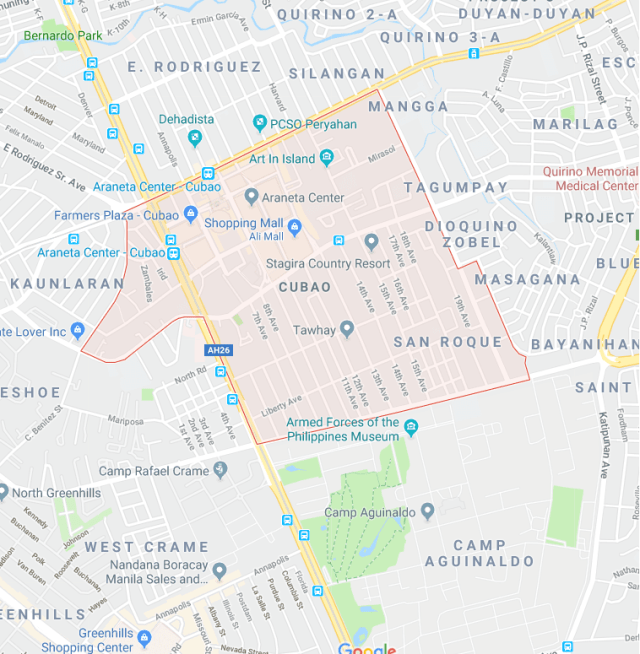 Map of Cubao, Quezon City