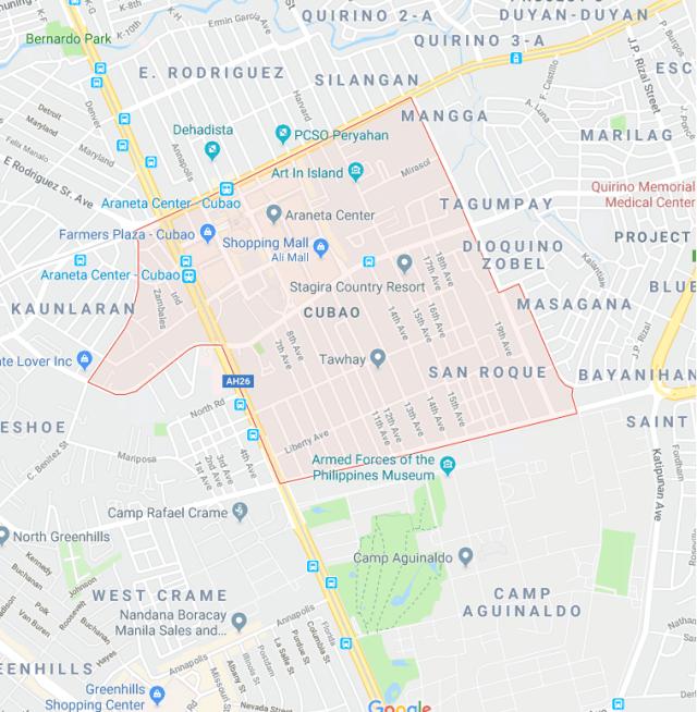 Map of Cubao, Quezon City