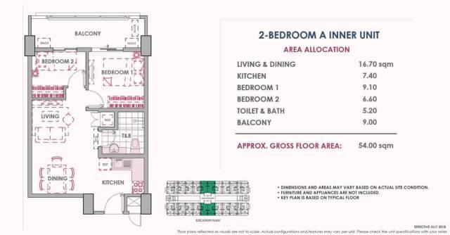 2 Bedroom A Inner Unit Layout 54 sq meters