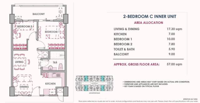 2 Bedroom C Inner Unit Layout 57 sq meters Atherton