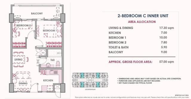 2 Bedroom C Inner Unit Layout 57 sq meters Atherton