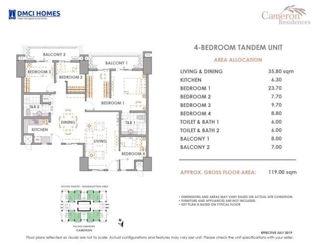 Cameron DMCI 4 Bedroom Tandem Unit Layout