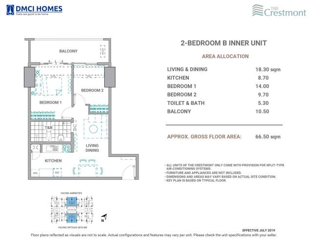 The Crestmont 2 Bedroom B Unit Layout