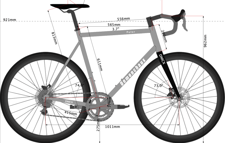 Sketch of titanium gravel bike designed for PEter