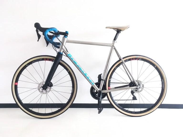 Titanium bike standing
