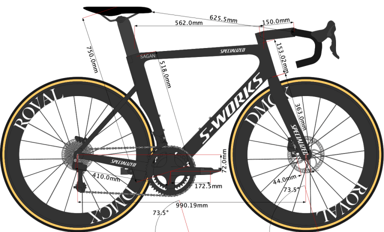 sketch of peter sagan 2020 Specialized Aero bike size