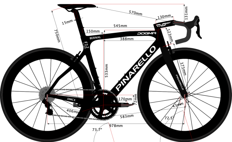 sketch of size 53 Pinarello Dogma F12 X-Light 2020