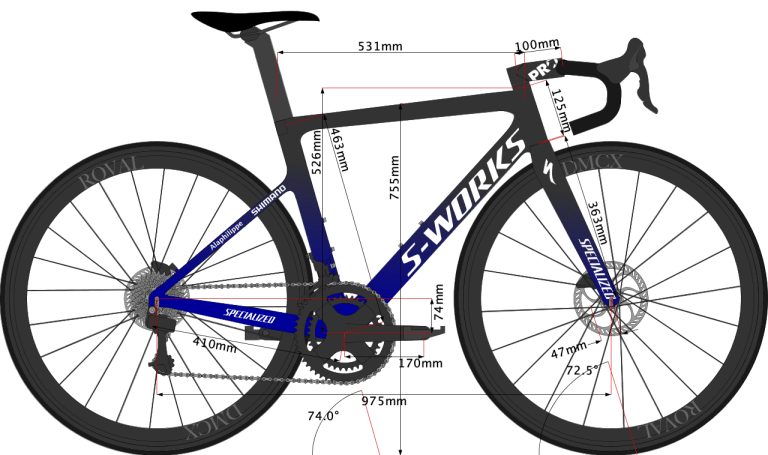 Sketch of the French pro road bike racer in size 52cm