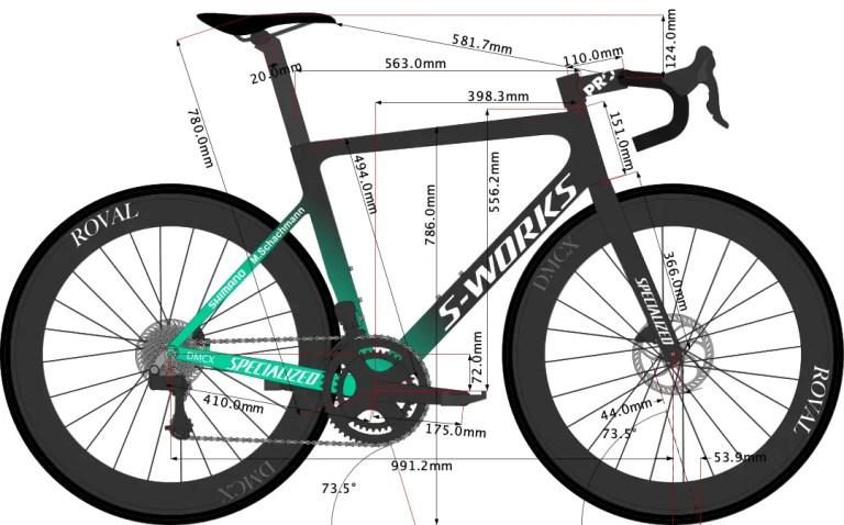 Maximilian Schachmann's Tarmac SL7 Bike Size 2021 sketch.