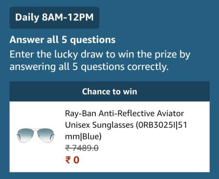Amazon Ray-Ban Sunglasses Quiz
