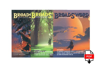 BroadSword 3 Issue Digital Subscription at DMDave.com. Featuring 3 digitally formatted PDFs of original 5e content, monsters, maps and more by DMDave