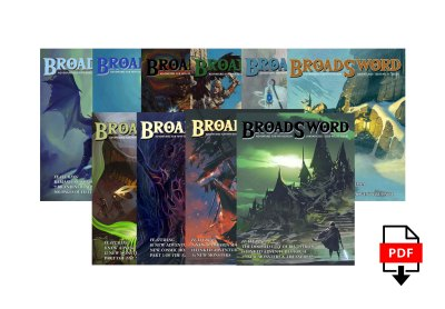 BroadSword Volume 1 PDF Bundle by DMDave features the compendium and issues 4-12 of BroadSword Monthly, available for instant download at dmdave.com