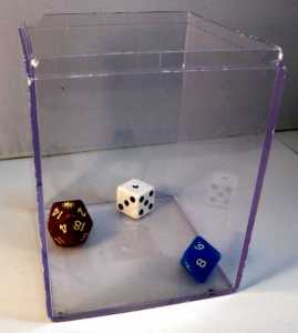 Clear box for dice rolling