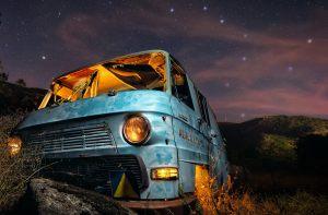 Des Foto nocturna - Furgoneta Azul y Osa mayor