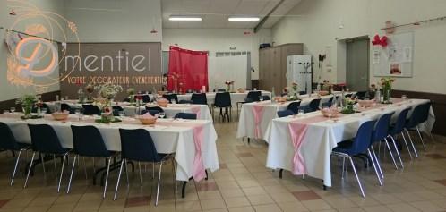 salle mariage champêtre en rouge et blanc