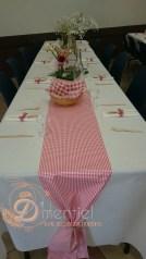 table champêtre en rouge et blanc