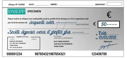 signature d'un chèque