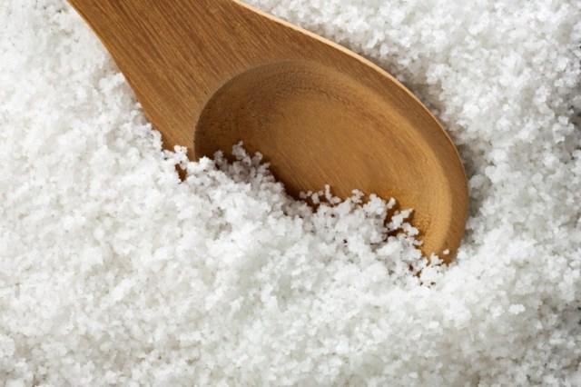 wooden spoon in salt