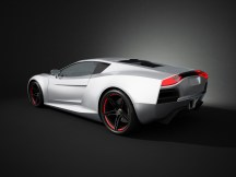 This red sport car is a concept design is made by myself. Wheel and tyre style are concept design too. This super sport car comes without any manufacture brands but looks like a modern Ferrari or Lamborghini. The image is a CGI.