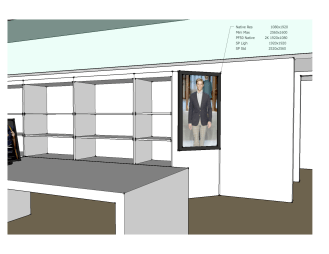 Digital Signage rendering of equipment placement for installation by dmg Martinez Group in Miami